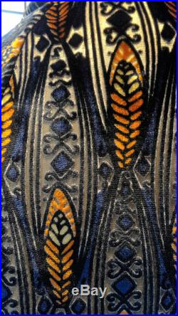 Art Deco Feather Pattern in Blue and Orange Burned Out Velvet with Gold Lame Base Shirt Custom Option Available