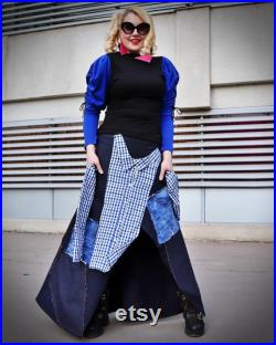 Asymmetrical Denim Skirt with Sleeves, Hippie Jean Maxi Skirt, Stylish Women Long Skirt TS38