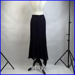 Authentic Chanel Boutique Vintage Navy Blue Silky Asymmetric Long Skirt