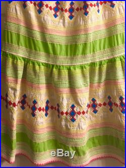 Authenticated 1950s SEMINOLE PATCHWORK handcrafted skirt, vibrant colors, 36 elastic waist, 37 long, 84 diameter at hem