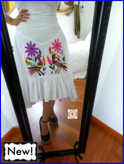 Awesome authentic Otomi skirt (White or Neutral) hand embroidered by Otomi indigenous women.