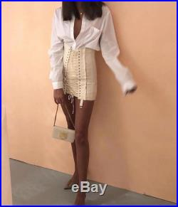 Bandage Skirt Corset Mini Skirt Lace up Tie Up Cream Black Bodycon Midi High Waisted Club Cocktail Party Vintage Womens Runway