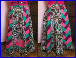 Batik and Braided Patchwork Hippie Skirt with Lotus Applique