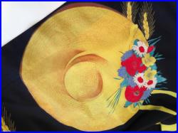 Beautiful 1950'S Summer Pleated Cotton Skirt with Straw Hats, Ribbons and Flowers Small 26 Waist