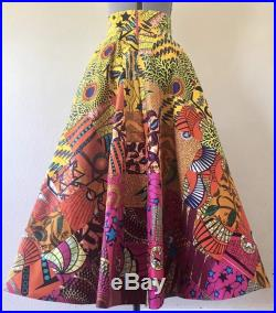 Beautiful African Wax Print High Waisted Skirt Circle Cut High Low Maxi Handmade Patchwork Gradient 100 Cotton Color Options Available