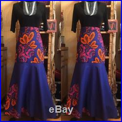 Beautiful Dark Purple almost Blue Ankara Wrap Skirt-One of a Kind- the Flowers POP-One Size Fits Most