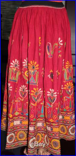 Beautiful Original Vintage Rabari Ghagra Skirt with Kutchi hand embroidery accentuated with mirror work in Red colour Free Shipping