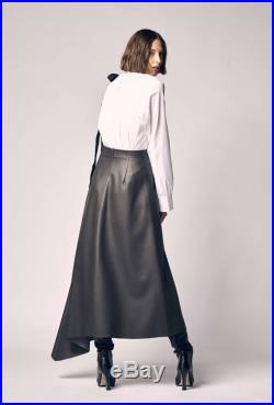 Black Faux Leather Skirt Asymmetrical Office Skirt Vegan Leather Skirt Designer Handmade Skirt