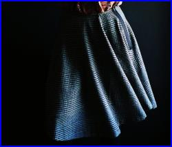 Black Grey Checked Wool Skirt with an Asymmetrical Hemline