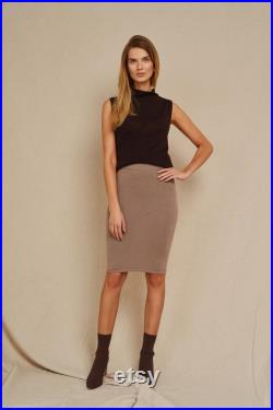 Black Knit Pure Cashmere Wool Skirt for Woman, Handmade Formal Pencil Skirt for Business Woman