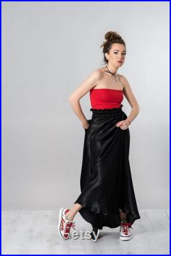 Black Maxi Skirt With High Waist in Victorian Style, Sizes XS 6XL, 3 Color Options