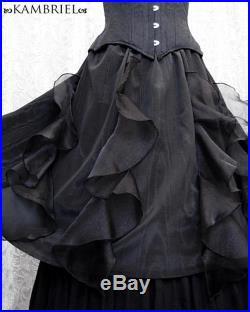 Black Moiré Waterfall Skirt with Sheer Bias Cut Organza Flounces by Kambriel Brand New and Ready to Ship