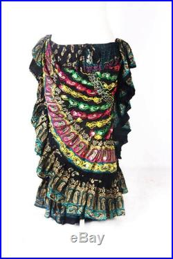 Black Multi Tribal Gypsy Diva Durga 25 Yard Full Embroidered One of A Kind ATS Skirt