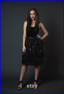 Black Sequin Tiered Skirt with Pockets