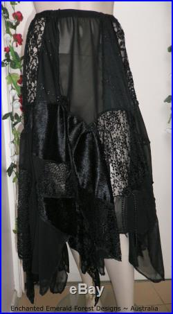 Black Stevie Nicks Style Gypsy Skirt Chiffon with Lace Patchwork Skirt will fit Size 14 to 18 Waist 36 to 40 Hand Made in Australia