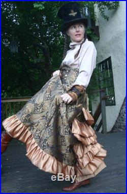 Black and Gold Floral Satin Tapestry Victorian Bustle Skirt and Corset Belt