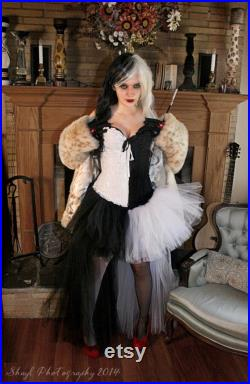 Black and White High low tulle skirt, adult villain Cosplay costume, Halloween tutu, goth bride, fantasy -You Choose Size Sisters of the Moon