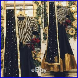 Black and gold chanderi brocade blouse with silk lengha skirt and embroidered dupatta indian bridesmaid dress wedding outfit custom made