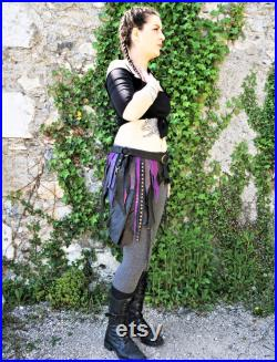 Black and purple asymmetric leather skirt ideal for festival