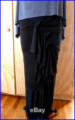 Black drape long fitted stretch pullover skirt with details cascading down to create a beautiful flow