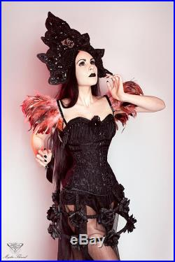 Black gothic victorian boned hoop crinoline cage skirt dressed with ruff black taffeta, decorated with black roses and octagon crystals