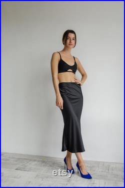Black silk skirt, Any color to choose real silk skirt,real silk slip elegant skirt