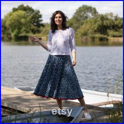 Block Printed CRINKLE SKIRT One size 8 to 18 Indigo with Small Off White Leaf design. Red Border