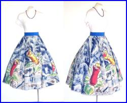 Blow Your Horn 1950s Mexican Full Circle Skirt Vintage 50s Skirt w Hand Painted Trumpet Flowers Rockabilly Fiesta Swing Dance S