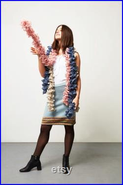 Blue Sky wool, sky blue and multicolored skirt