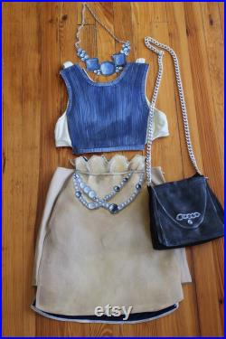 Blue and Beige Hand Painted Paper Doll outfit crop top, pencil skirt, faux jewels, hand made art clothing, avant garde,wearable art S-M