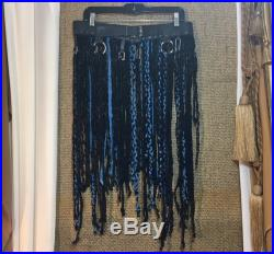 Blue and Black Leather Braided Fringes Festival Over Skirt Braids Leather Overskirt