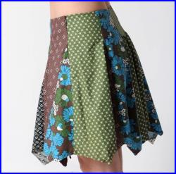 Blue and brown patchwork skirt, in vintage floral cotton, Short patchwork skirt, Brown floral skirt, Womens skirts, size UK 8 FR 36