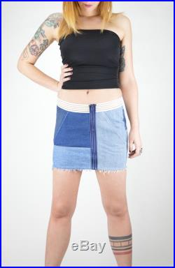 Blue basic denim mini skirt. Made with upcycled jeans for a green fashion.