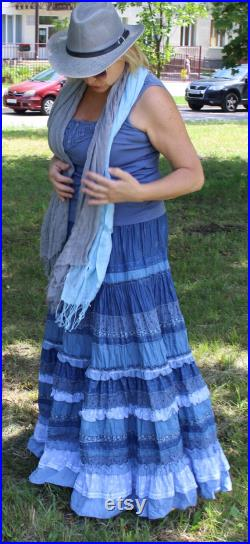 Blue jean multi-layer maxi skirt in boho style.