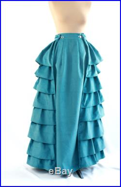 Blue turquoise Victorian skirt with frills