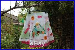 Bohemian White Cotton Embroidered flowers vintage old pink lace skirt ,,VARADERO,,