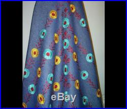 Bohemian Woodstock flowy dark blue denim skirt Small Medium Large embroidered flowers hand woven Indian cotton maxi made in India as new