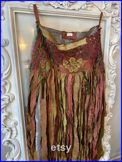 Bohemian skirt in a ragged look , eco friendly fashion upcycled dollies and lace, gift for her