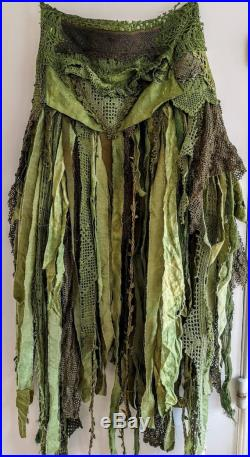 Bohemian skirt in a ragged look , eco friendly fashion upcycled dollies and lace, green witch skirt