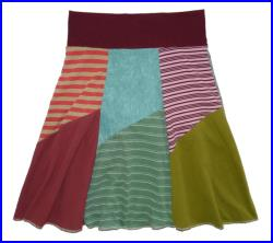 Boho Chic Upcycled Hippie Skirt Women's Small Medium recycled t-shirt clothing from Twinkle