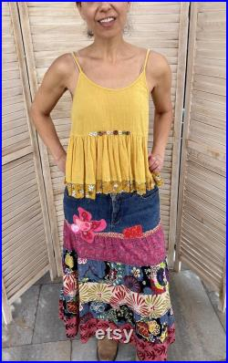 Boho denim and cotton layered maxi skirt size 12, hippie, patched, Up-cycled, Repurpose, Made with love.