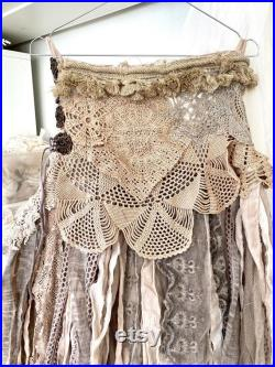 Boho skirt ragged , Gypsy skirt from vintage lace , pixie wedding skirt , Raw Rags