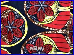 Bold Floral African Print Summer Skirt, Navy Blue with Red and Yellow
