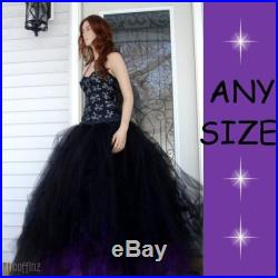 Bridal Bride tulle skirt floor length Black and Bright Purple Gothic Formal Bridesmaid all sizes MTCoffinz