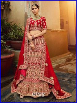 Bridal lehenga for Indian and Pakistani bride in red colour