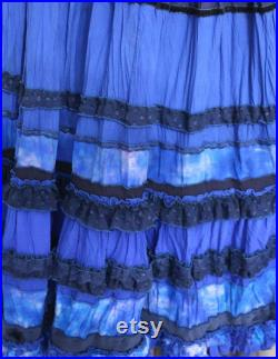 Bright blue maxi skirt in boho chic style.