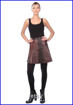 Brown Leather Patchwork Mini Skirt With Leopards Print Details, Mini Skirt In Brown Leather Patchwork Made To Measure