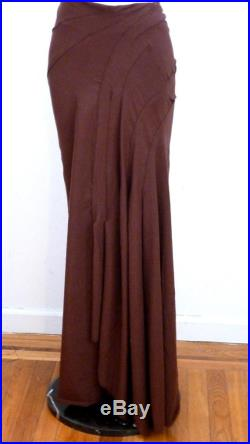 Brown fitted long cotton lycra skirt with detail stitches