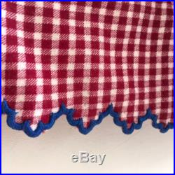 Brushed Cotton Maroon and White Checked Circle Skirt Vintage Hungarian Folk Hand Sewn Scalloped Hem Summer Festival Dancing
