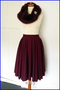 Burgundy Full Circle skirt with pockets. Made to Order Made to Measure Sizes Xs to XL.